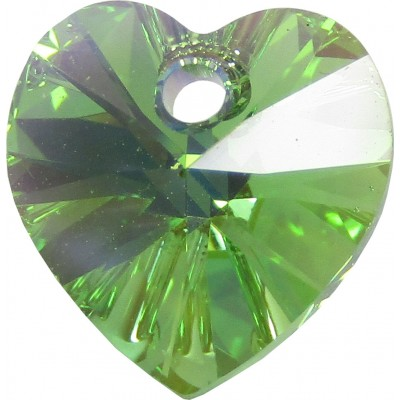 10 Swarovski Crystal Peridot AB Heart Pendants Article 6228