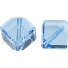 10 Swarovski Crystal 6mm Aquamarine Corner Drilled Cube Beads Article 5600