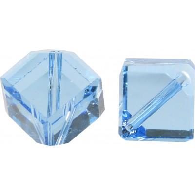 10 Swarovski Crystal 6mm Aquamarine Corner Drilled Cube Beads Article 5600