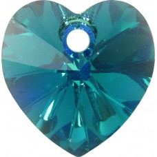 10 Swarovski Crystal Blue Zircon AB Faceted Heart Pendants Article 6228
