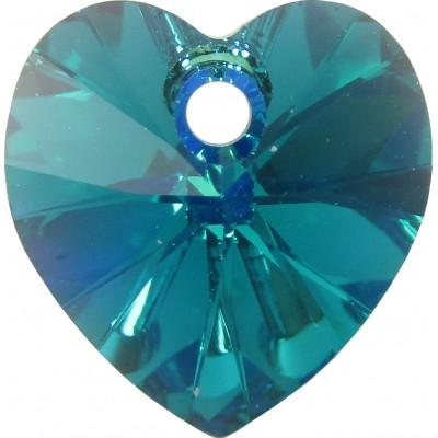 10 Swarovski Crystal Blue Zircon AB Faceted Heart Pendants Article 6228