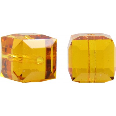 10 Swarovski Crystal Topaz 6mm Cube Beads Article 5601