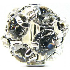 1 Swarovski Crystal 8mm Silver Plated Sphere Crystal Set Bead.
