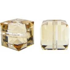 10 Swarovski Crystal 6mm Crystal Golden Shadow Cube Beads