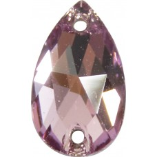 2 Swarovski Crystal Light Amethyst Foiled 12x7mm Flat Back 2 Hole Peardrop  Sew on Stone