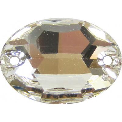 2 Swarovski Crystal Foiled 16x11mm Flat Back 2 Hole Oval Shape Sew on Stone