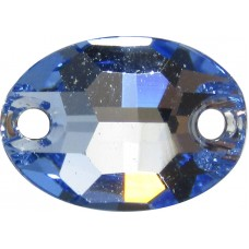 2 Swarovski Crystal Light Sapphire Foiled 10x7mm Flat Back 2 Hole Oval Sew on Stone