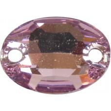 2 Swarovski Crystal Light Amethyst Foiled 10x7mm Flat Back 2 Hole Oval Sew on Stone