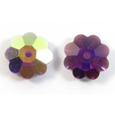 8  Swarovski Fuchsia AB Flower Beads, Article 3700