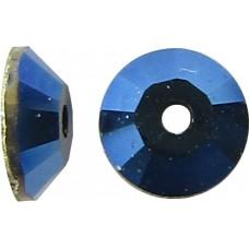 50 4mm Swarovski Crystal Metallic Blue Foiled 3128 Lochrose Sew On/ Spacer Beads