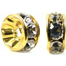 10 Swarovski Crystal 6mm Gold Plated rondelle spacer Beads