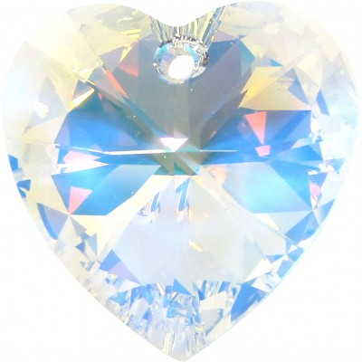 10 Swarovski Crystal AB Faceted Heart Pendants Article 6228
