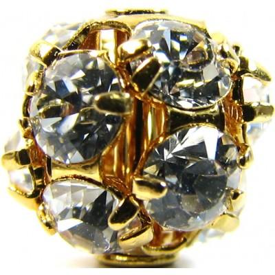 1 Swarovski Crystal 8mm Gold Plated Sphere Crystal Set Bead.
