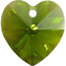 10 Swarovski Crystal Olivine/ AB Heart Pendants Article 6228