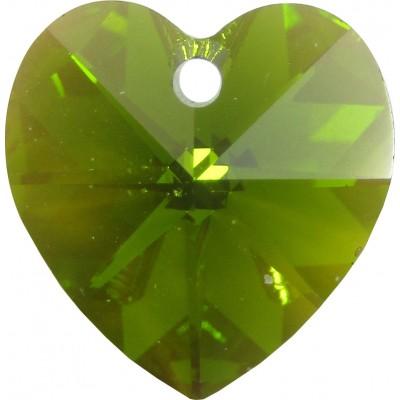 10 Swarovski Crystal Olivine/ AB Heart Pendants Article 6228