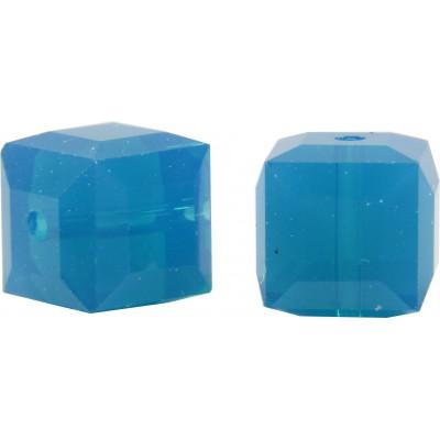 10 Swarovski Crystal Caribbean Blue Opal 6mm Cube Beads Article 5601