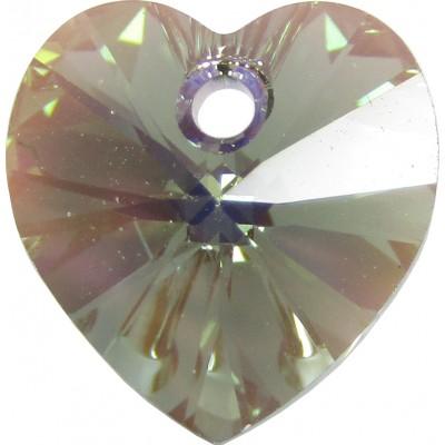 10 Swarovski Crystal Black Diamond/ AB Heart Pendants Article 6228