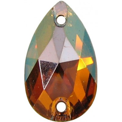 2 Swarovski Crystal Copper Foiled 12x7mm Flat Back 2 Hole Peardrop Sew on Stone