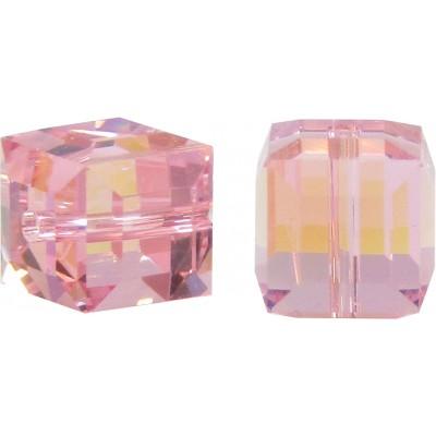 10 Swarovski Crystal Light Rose AB 6mm Cube Beads Article 5601