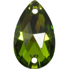 2 Swarovski Crystal Olivine Foiled 12x7mm Flat Back 2 Hole Peardrop Sew on Stone