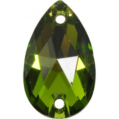 2 Swarovski Crystal Olivine Foiled 12x7mm Flat Back 2 Hole Peardrop Sew on Stone