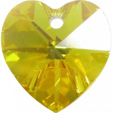 10 Swarovski Crystal Light Topaz AB Heart Pendants