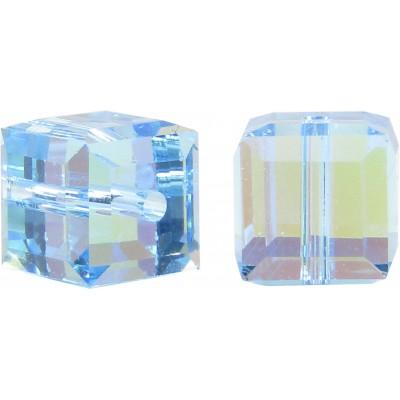 10 Swarovski Crystal Aquamarine AB 6mm Cube Beads Article 5601