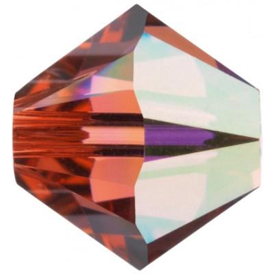 50 Swarovski Crystal 4mm Padparadscha AB2x Bicone Beads Article 5301/ 5328