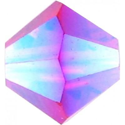 50 Swarovski Crystal 4mm Light Siam Aurora Borealis 2x Bicone Beads Article 5301/ 5328