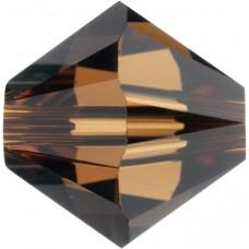 50 Swarovski Crystal Smoked Topaz 5mm Bicone Beads Article 5301/ 5328