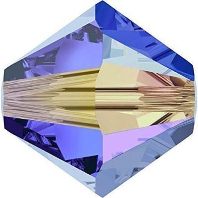 50 Swarovski Crystal 4mm Sapphire AB 2x Bicone Beads Article 5301/ 5328