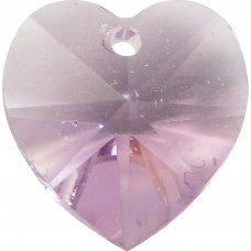 10 Light Amethyst Swarovski Crystal Heart Pendants  Article 6228