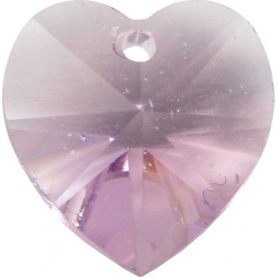 10 Light Amethyst Swarovski Crystal Heart Pendants  Article 6228