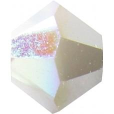 50 White Alabaster AB Satin Swarovski Bicone Beads