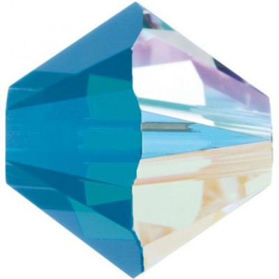 50 Swarovski Crystal 4mm Caribbean Blue Opal AB Bicone Beads Article 5301/ 5328