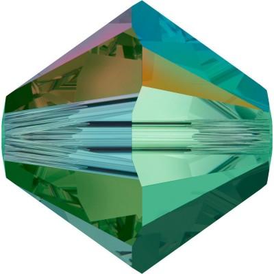 50 Swarovski Crystal 4mm Emerald AB 2x Bicone Beads Article 5301/ 5328