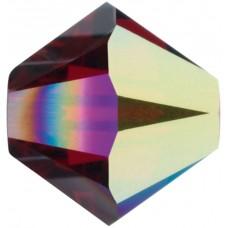 50 Swarovski Crystal 4mm Siam Aurora Borealis 2x Xilion Bicone Beads Article 5301/ 5328