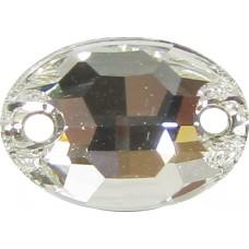 2 Swarovski Crystal Foiled 10x7mm Flat Back 2 Hole Oval Sew on Stone