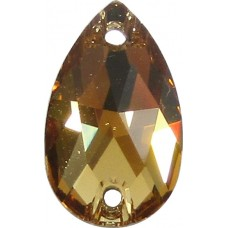 2 Swarovski Crystal Light Colorado Topaz Foiled 12x7mm Peardrop Flat Back 2 Hole Sew on Stone