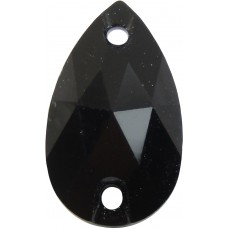 2 Swarovski Crystal Jet Black 12x7mm Peardrop Shape Flat Back 2 Hole Sew on Stone