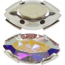 2 Swarovski Crystal AB 2Hole Silver Navettes
