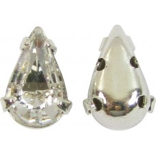 2 Swarovski Crystal AB 2 Hole Silver Teardrop Sew on Stones