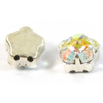 1 Swarovski Crystal AB 2Hole Silver Flower Beads Sew on Stones