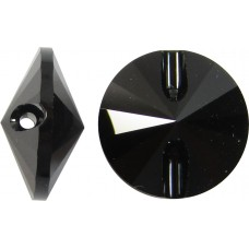 1 Swarovski Crystal 12mm Jet Black 3015 Button