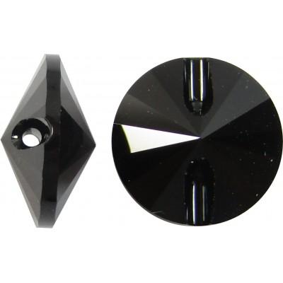 1 Swarovski Crystal 12mm Jet Black 3015 Button
