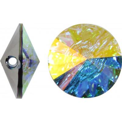 1 Swarovski Crystal 18mm Crystal AB Foiled Button