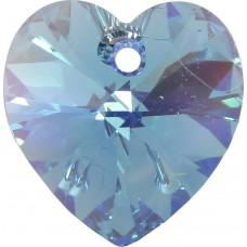 2 Swarovski Crystal Aquamarine/ AB 14mm Heart Pendants Article 6228