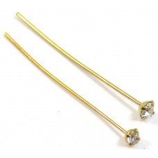 10 Swarovski Crystal AB Gold Plated 0.7x38mm Headpins
