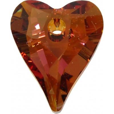 2 Swarovski Crystal Copper Wild Heart 12mm Pendants Article 6240
