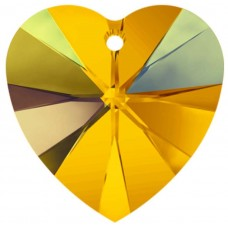 2 Swarovski Topaz AB Heart Pendants